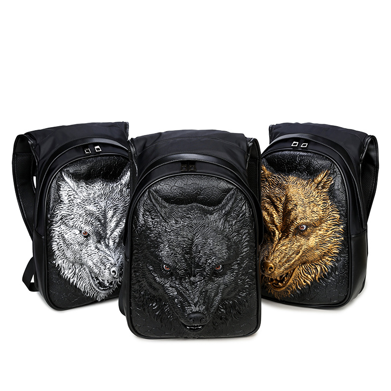 Men's Werewolf Hooded Backpack Large Male Black Gold Silver 3D Wolf Head Design Printing Backpack With Hood Fashion Casual Bags 5