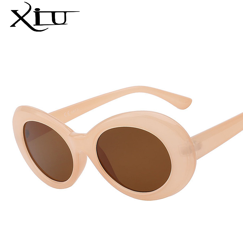 XIU Oval Sunglasses Oculos Classic Cateye Vintage Designer Eeywear Women Brand UV400