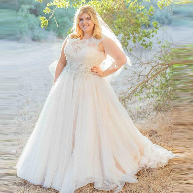2016 Plus size Wedding Dresses Elegant Lace Tulle Wedding Gowns ...