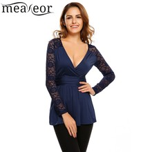 Meaneor Sexy Lace Patchwork cotton fabric skinny t-Shirt Casual deep v-neck long sleeve Pleated Summer shirt women Slim t-Shirt lace patchwork keyhole t shirt