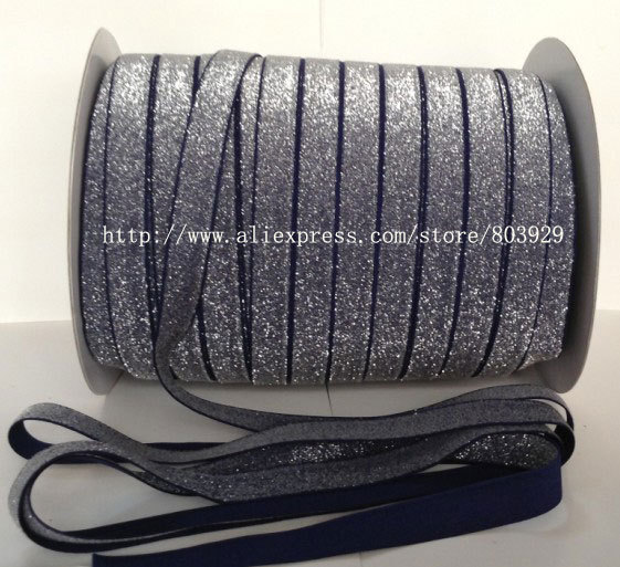 50yards lot Non stretch 1 5 Frosted Navy Glitter Ribbon