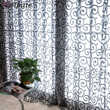 Enipate Pastoral Floral Tulle Voile Velvet Curtain Door Scarf Valances Drape Panel Sheer Window Curtain For Bedroom 100*270cm pastoral daisy door screen voile window sheer curtain blinds drape bedroom curtains backdrop christmas decorations for home wall