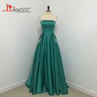 Custom Made 2017 Real Photo Evening Prom Dresses Strapless Satin Dark Green Pocket Long Cheap African