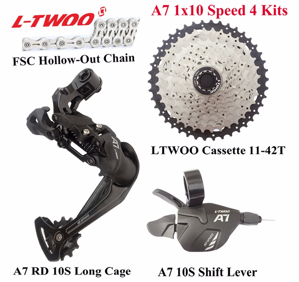 LTWOO Bicycle A7 1x10 Speed Groupset Shift Lever Rear Derailleur Chain Cassette 11 42T 11 46T
