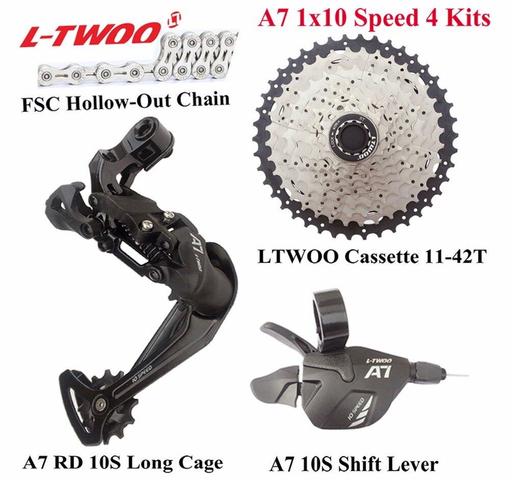 LTWOO vélo A7 1x10-Speed Groupset levier de vitesse + dérailleur arrière + chaîne + Cassette 11-42 T, 11-46 T, GX, NX, X7, X9 Compatible