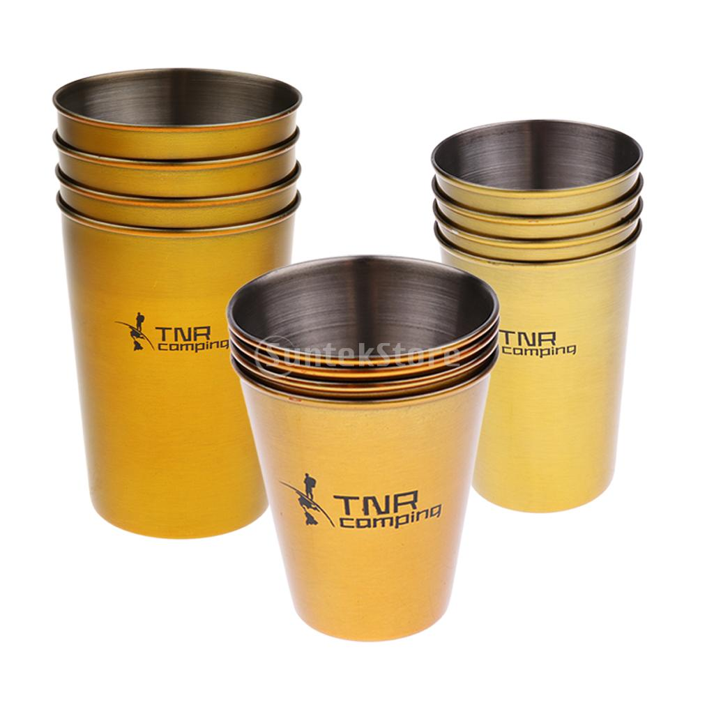 4pcs/set 60ml/180ml/300ml Healthy Stainless Steel Water Tea Cup Coffee Mug + Storage Pouch Outdoor Travel Camping Picnic automatic mixing cup camera lens stainless steel coffee tea mug travel