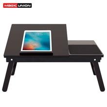 マジックユニオンポータブルラップトップテーブル木製ホームデスク大学の寮ベッド折りたたみテーブル膝怠惰なテーブル小規模な研究デスク