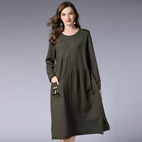 Woman Basic Knitting Dress Winter Autumn Plus Size 2018 Women Extra Large All Match Warm Casual Party Sexy Black Knitted Dresses