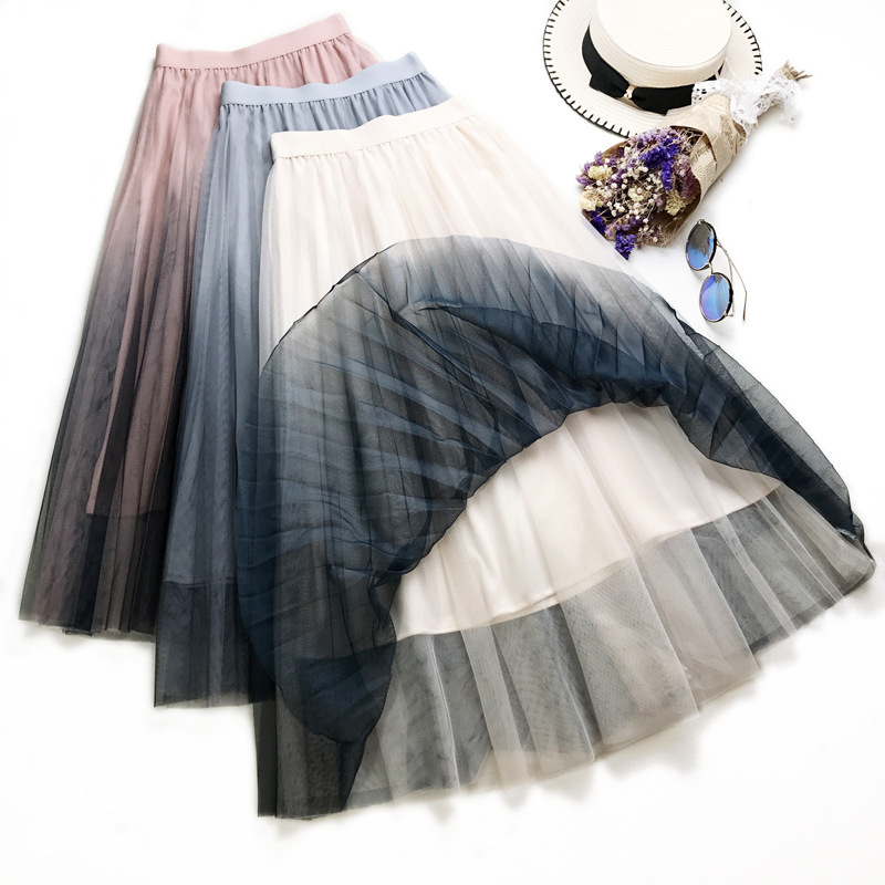 3d2c1e37f8 Falda larga de tul de cintura alta elástica de verano para mujer Falda  plisada de malla de retazos de mujer Harajuku Falda Midi de línea A para  mujer Jupe
