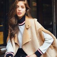 Europe and American Style Shawl Coat Women Fashion Khaki Color Patchwork Design Mantle Cloak Coats Autumn Winter manteau femme