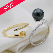 Sterling Sliver Simple Inlaid Zircon Pearl Ring Mounts Woman Oyster Pearl Jewelry Making Accessories