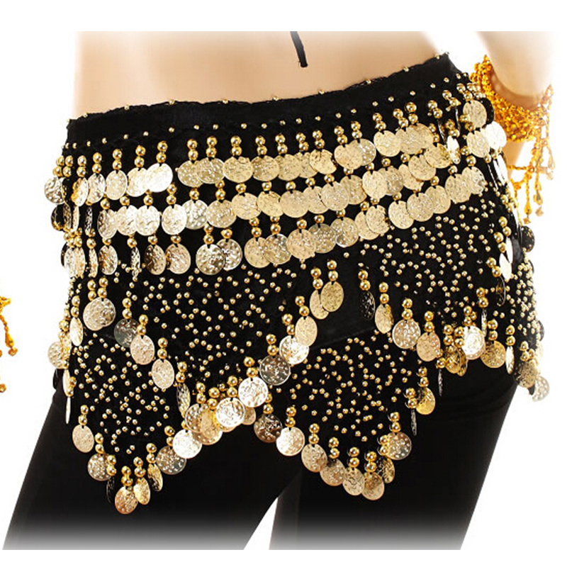 Belly Dancing Hip Scarf Women Festival Hip Skirt Gold Coins Velvet Indian Dance Wrap Belt Oriental Bellydance Wrap Skirt