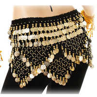 Women Arab Belly Dancing Costumes Hip Scarf Halloween Party Performance Skirt Indian Dance Belt Music Festival Gold Coins Egypt