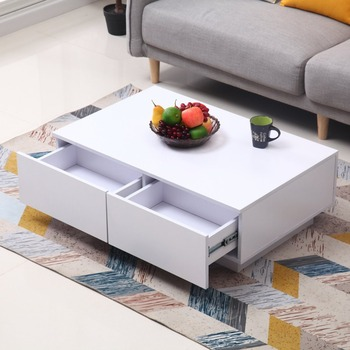 Durable Wooden Coffee Table Modern Style Living Room Furniture Modern Design Convenient Elegant Office Table With Shelf coffee table