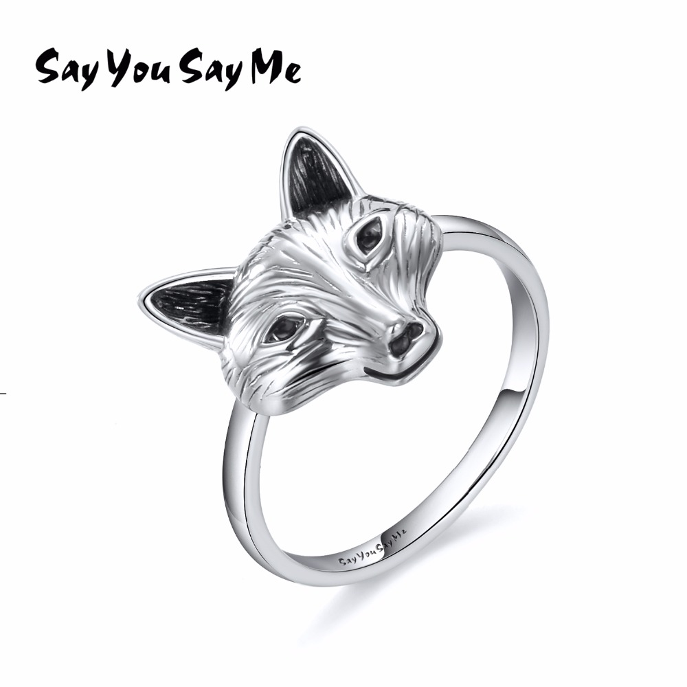 925 Sterling Silver Wolf Ring Wholesale Wedding&Engagement Retro Cool Fox Rings 2018 New Arrival Best Gifts Say You Say Me antique brass 8 rain shower faucet set double corss handles tub mixer hand unit