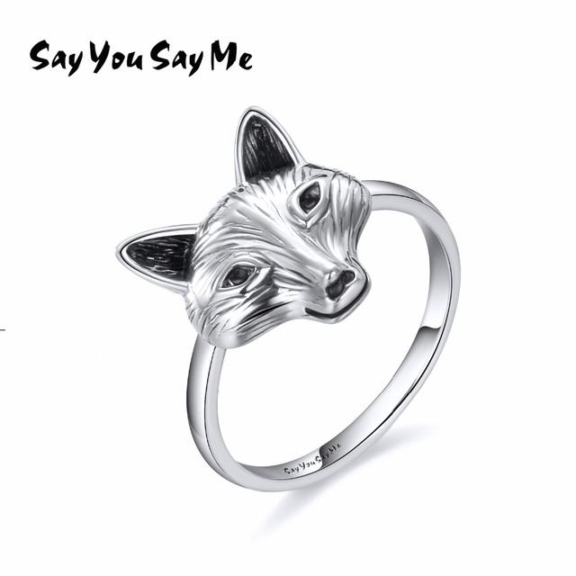 925 Sterling Silver Wolf Ring Wholesale Wedding&Engagement Retro Cool Fox Rings