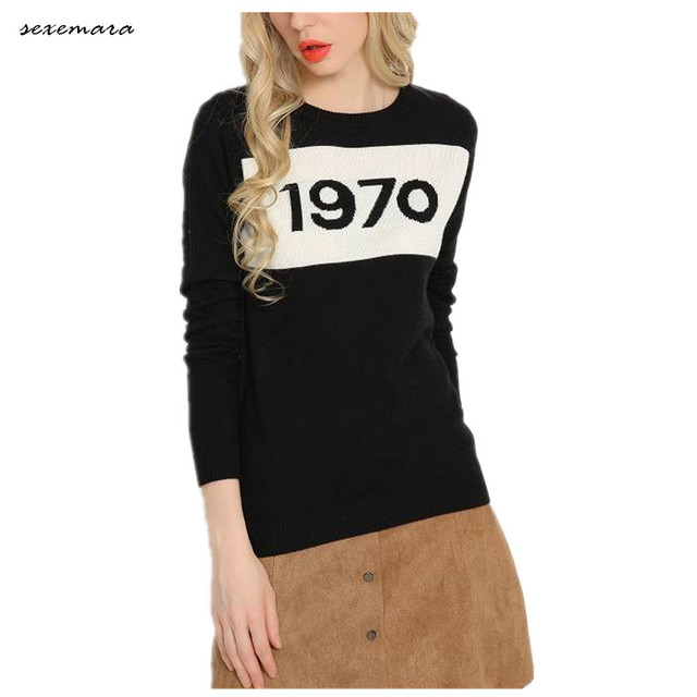 7f6592ac29 1970 letter pullover jumper sweater high quality women autumn winter  fashion wool sweater