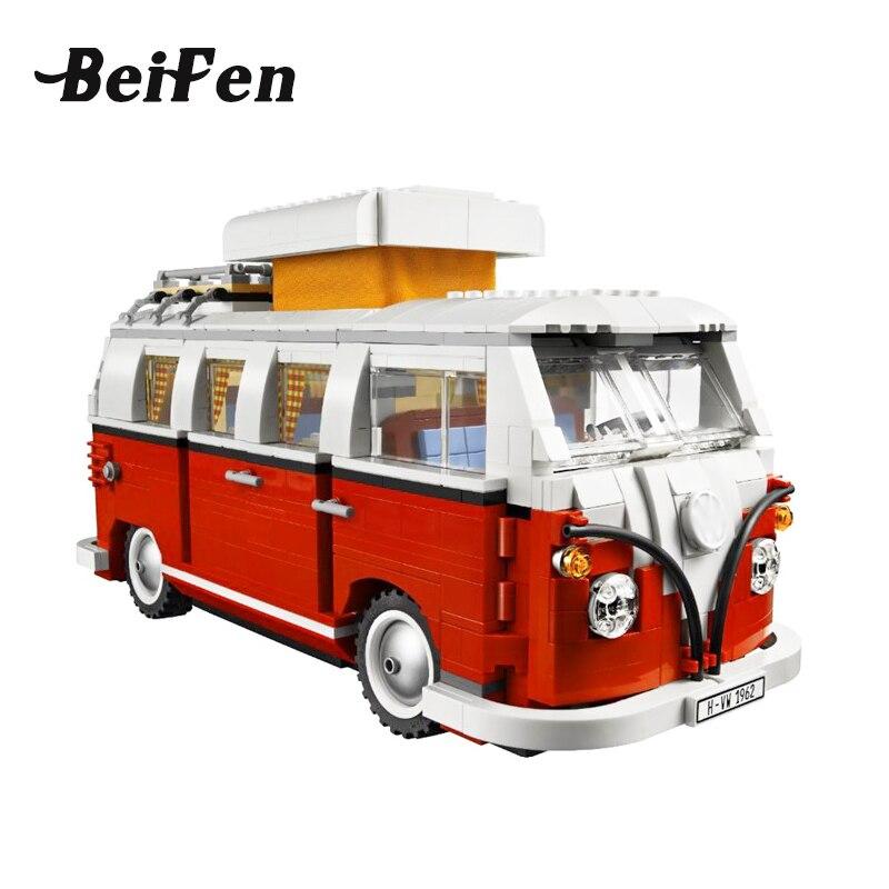 lepine Technic Series 10020 Classical T1 Camper Van Model Car Building Bricks LegoINGlys Educational Children Toy lepine 21001 intex 10020