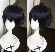 High Quality Anime Seraph of the End Yuichiro Hyakuya Cosplay Wig Black Mix Blue Heat Resistant Synthetic Hair Wigs + Wig Cap