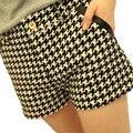 S-XXXL plus size New 2017 houndstooth woolen shorts women's boot cut jeans plus size plaid basic short