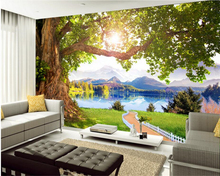 beibehang Advanced custom fashion personality 3d wallpaper beautiful landscape murals tree background papel de parede