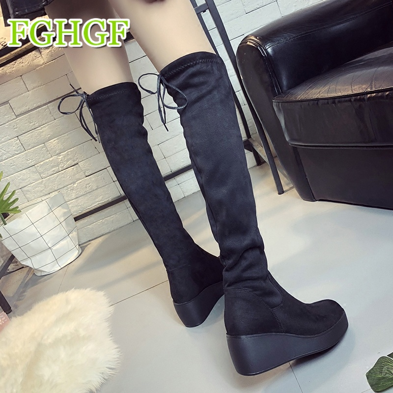 Autumn Boots Women Wedges High Heel Over The Knee Boots Winter Shoes Knee/long Boots Thigh High Boots e toy word autumn winter boots women over knee thigh high boots women flats long boots low heel suede leather women shoes