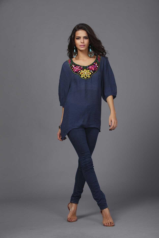 Shirt design ladies 2015 - Aliexpress Com Buy 2015 New Design Women S Blouse Shirt Embroidery Neck Half Sleeve Tops Fashion Ladies Sheer Blusas Femininas Low Price Promotion From
