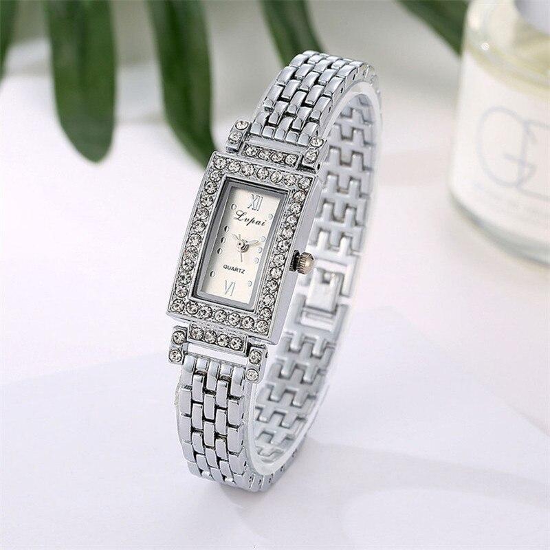 2018 Women's Lady Stainless Steel Dial Bracelet Quartz Rhinestone Wrist Watch Square