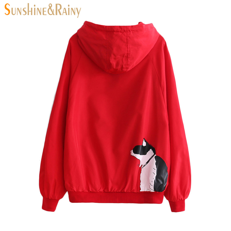 Spring Autumn New Student Coat Japanese Meow Printing Hooded Long Sleeved Loose Girl Coat Solid Color Cartoon Coat Jackets 2018 ...