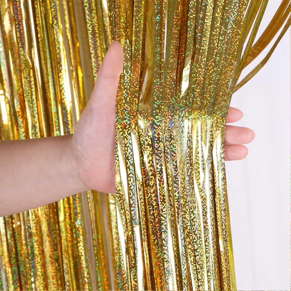 2M 3M 4M Kim Loại Viền Tua Rua Lắc Chân Nữ Phông Nền Tiệc Cưới Trang Trí Tường Chụp Hình Phông Nền Kẹo Thơm Miệng Lấp Lánh màn Vàng