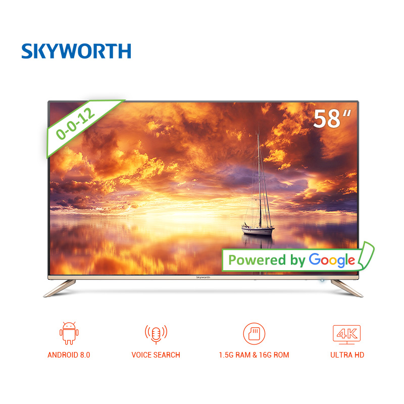 TV sets 58 Skyworth 58G2A 4K Smart ANDROID clear led TV android 8.0 UHD dolby  dvb dvb-t dvb-t2 digital television 5055InchTv tv tuner android