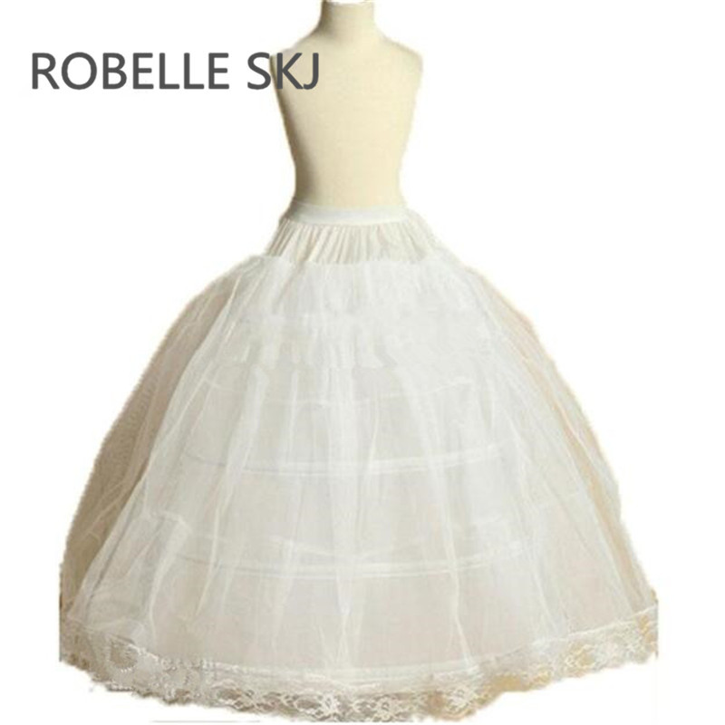 Long Child Petticoat for Children Flower Girl 3 Hoops Petticoat Crinolines Slip Underskirt Jupon Enfant Rockabilly 80cm
