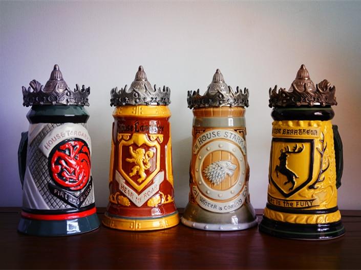 Nouveau GAME OF THRONES SIGNATURE STEINS maison STARK Lannister Targaryen baratheon 22 oz tasse à bière en céramique STEIN