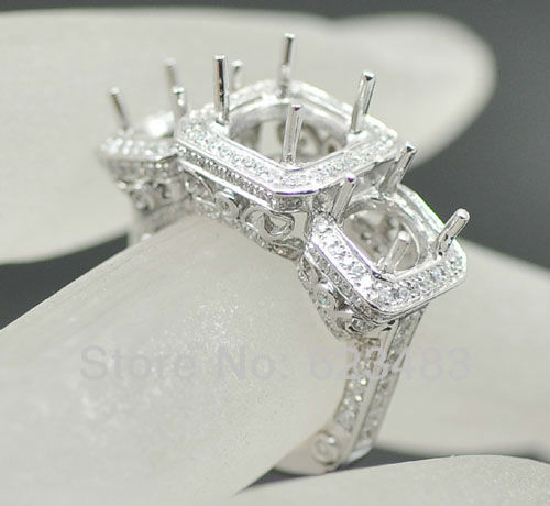 14kt WHITE GOLD 8MM & 6MM ROUND CUT  RING SEMI MOUNT SETTING WEDDING RING 14kt WHITE GOLD 8MM & 6MM ROUND CUT  RING SEMI MOUNT SETTING WEDDING RING