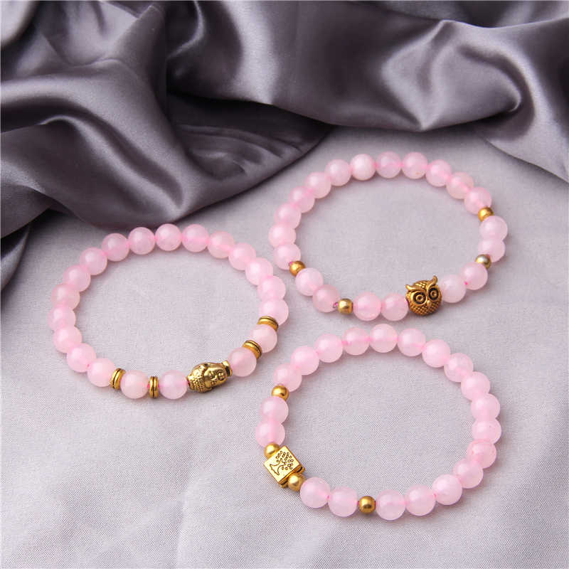 Pink Rose Crystal Bracelet Silver gold Charm Beads Bracelets Pink Quartz Bracelets Bracelet for Women girls gift wholesale
