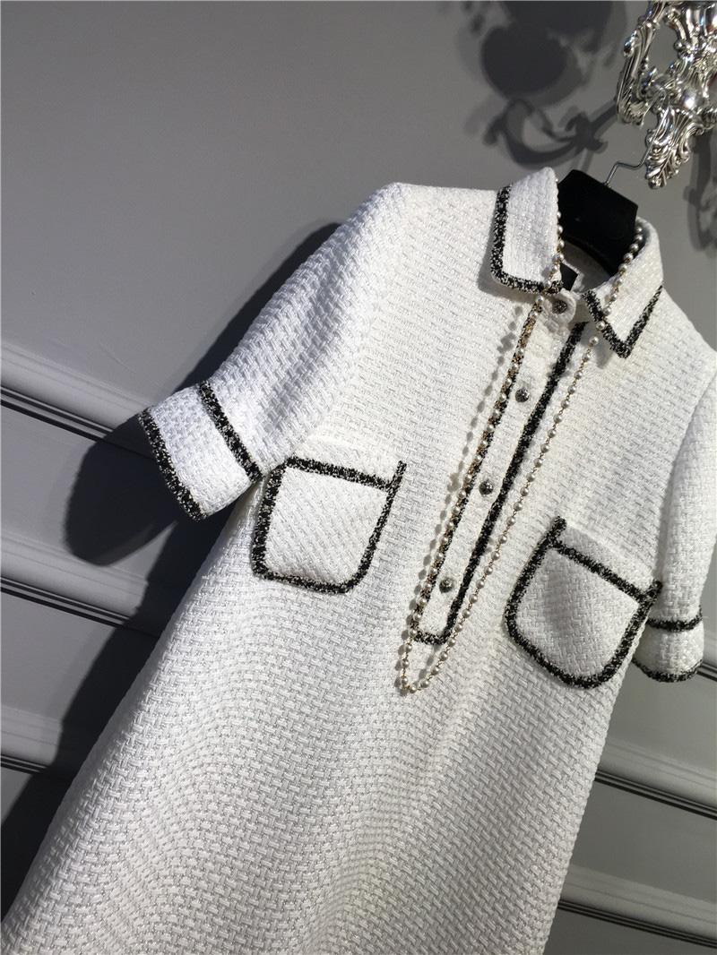 women elegant office dress,custom plus size xs-6xl,tweed winter dress,ladies vestidos de fiesta,tweed autumn White dress 3