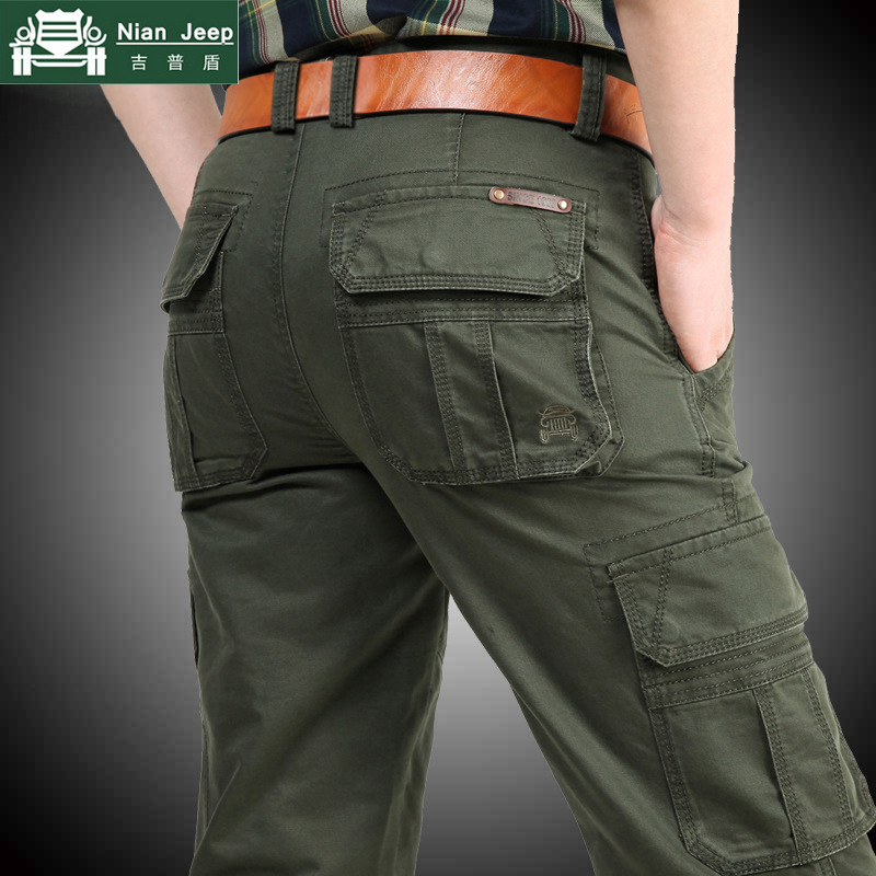 NIANJEEP Military Cargo Pants Men Outwear Multi-pockets Baggy Men Pants Cotton Casual Army Trousers Work Joggers Men Size 28-44