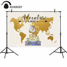 Allenjoy photography backdrop world map globe suitcase baby birthday background photophone photocall poster fabric printed