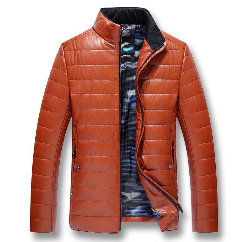 Épais Coton Mâle Black orange Taille Hombre 2019 Casual Pu Mode Slim Plus Vestes Fit Outwear Manteaux purple D'hiver Isurvivor Zipper Hommes PXkiuZ