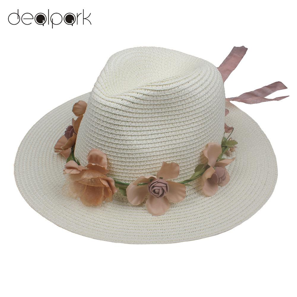 3c447099be7f8f Summer Women Flower Straw Hat Garland Ribbon Floral Wide Brim Sun Beach Cap  Fedora Trilby Hat White/Beige/Khaki