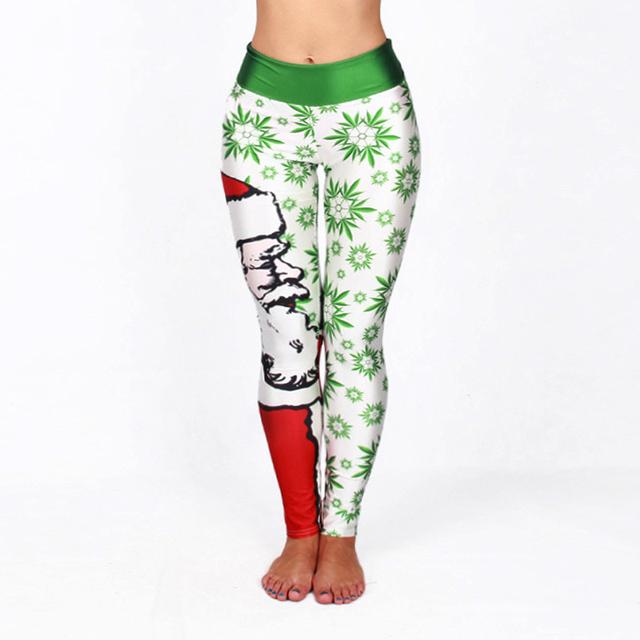 3D Print Christmas Leggings Santa Claus Trees Printed