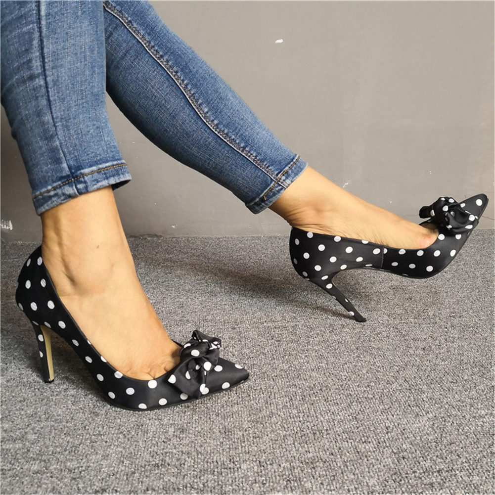 2019 Luxury Plus Size 47 Sexy Thin High Heels Women Shoes Pumps Sweet Bow Pointed Toe Party Polka Dot Shoes Woman 2019 Stiletto