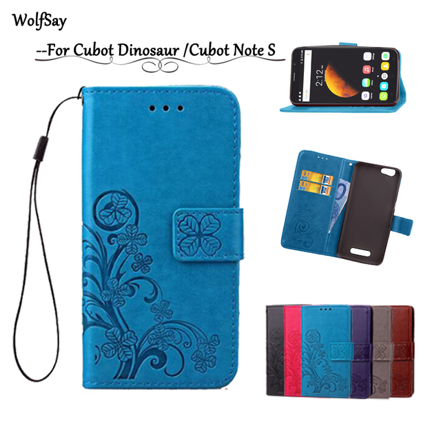 Wolfsay For Cubot Dinosaur MTK6735A Leather Case Flip Wallet For Cubot Note S Phone Case Shockproof Soft Cover With Card Holder[