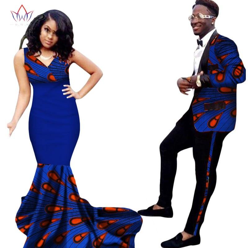 Mode vêtements africains robes pour femmes Ankara Style Batik imprime costume pour hommes et dame Sexy robe Couples vêtements WYQ52