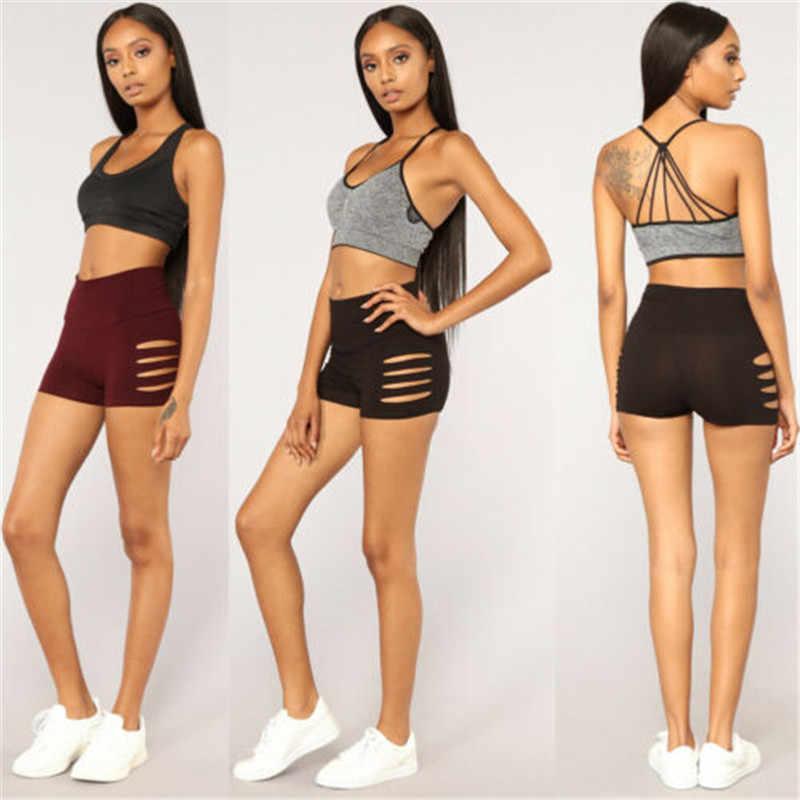 Kadın sıcak spor spor Slim Fit delik rahat katı renk şort dans spor plaj sıkı egzersiz dipleri S M L XL