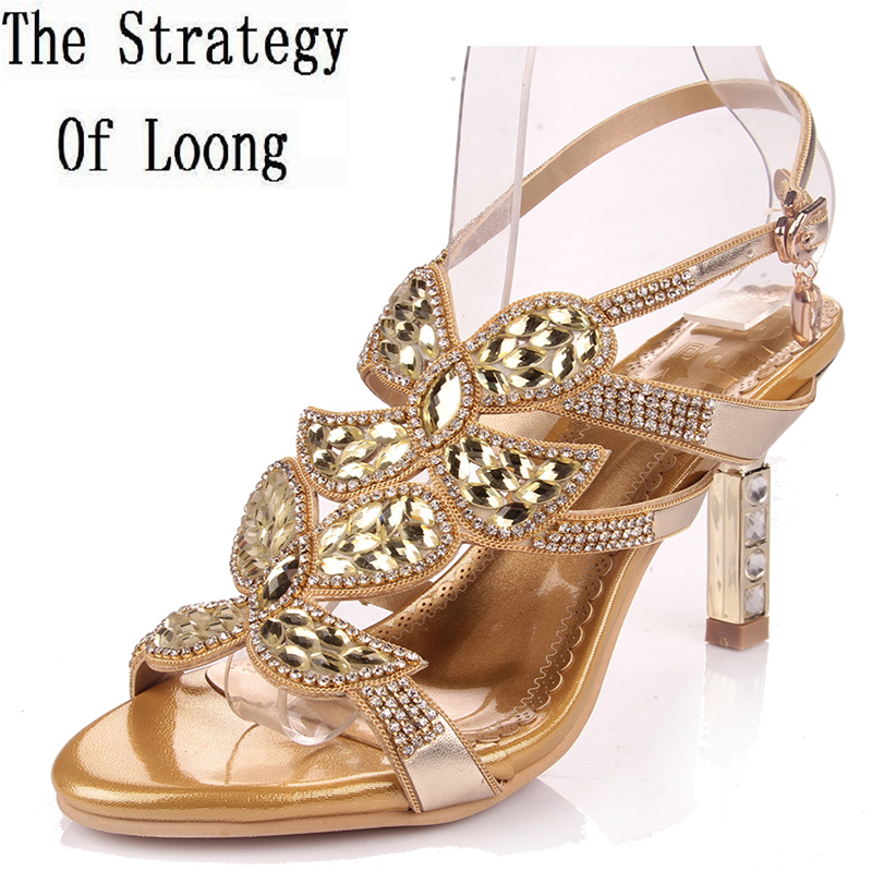 Women 2016 Summer New Rhinestone Open The Toe Thick High Heel Fashion Sandals Cutout Flowers Big Size 41 42 Sexy Sandals bonjomarisa 2017 fashion summer sandles big size 32 43 cutout open toe thick heel less platform women shoes ladies footwear