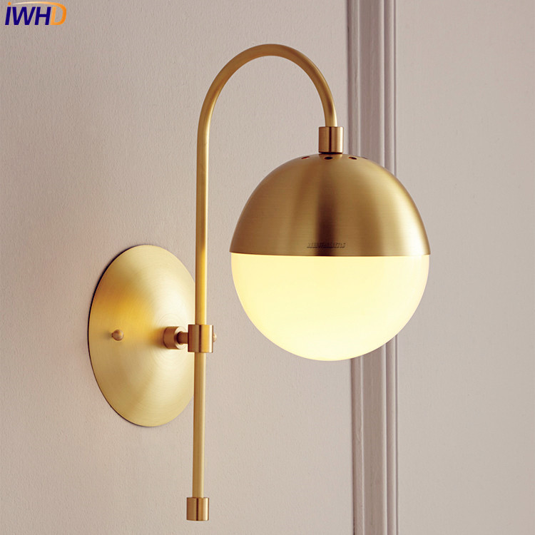 Nordic Modern Copper LED Wall Lamp Wandlampen Bathroom Mirror Glass Ball Wall Light Beside Arandela Luminaire Home Lighting iwhd nordic modern led wall light brass copper bathroom mirror beside lights vintage wall lamp sconce lamparas de pared