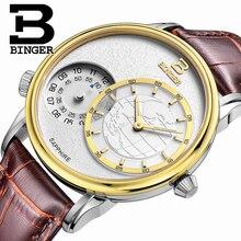 2016 Men's Watches Top Brand Luxury BINGER Waterproof Sport Military Leather Wrist Watches Traveller Series Quartz Watch B5009M
