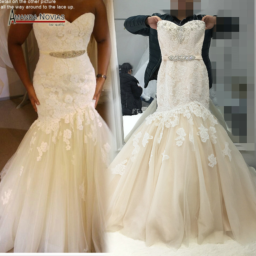 2017 champagne with ivory color wedding dress mermaid real for True mermaid wedding dresses