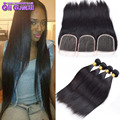 Peruvian Virgin Hair Straight with Lace Closure 4pcsLot Cheap Queens Hair Products Straight Virgin Peruvian Hair With Closure